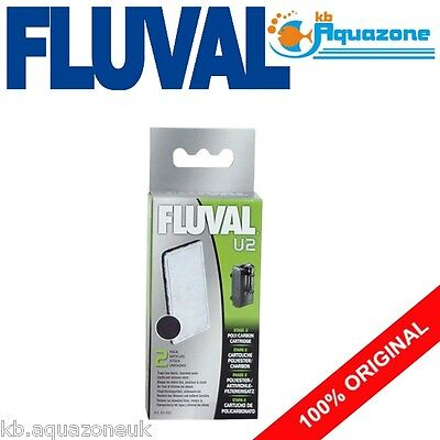 Fluval * U2 Carbon Cartridge * Underwater Filter Replacement * 2 Pack