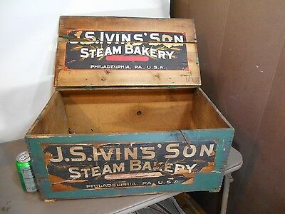 ANTIQUE-Bakery Display Box-J.S.IVINS' SON STEAM BAKERY BISCUIT  CRATE PHILA. PA.