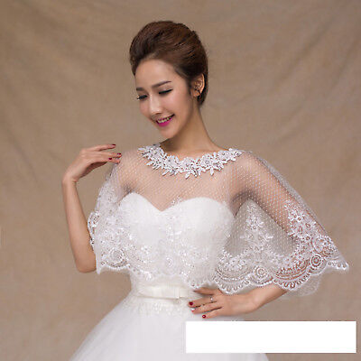 Bridal wedding lace shrug wrap shawl jacket with sequin bead one size ivory