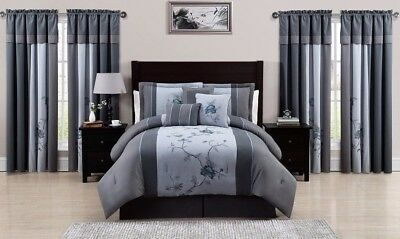 Chezmoi Collection 7-Piece Blue Gray Floral Embroidered Comforter Set, Full