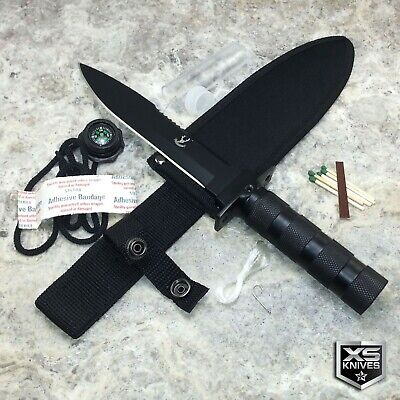 "8.5"" Tactical Fixed Blade Hunting Camo Green Skull Survival Knife + Kit & Sheath"