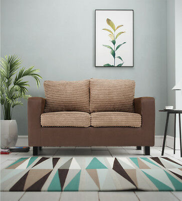 Monaco Cord & Faux Suede Fabric 2+3 Seater Sofas, Armchair in Brown & Beige