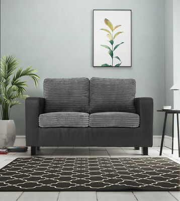 Monaco Cord & Faux Suede Fabric 2+3 Seater Sofas, Armchair in Black & Grey