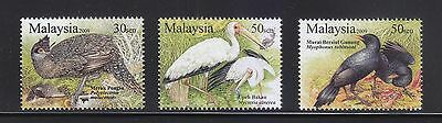 Malaysia 2009 Unique Birds Of Malaysia Comp. Set Of 3 Stamps In Mint Mnh Unused
