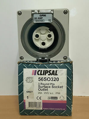 Clipsal 56SO320 Surface Socket Outlet 3 pin round 20A IP66 250V 50Hz GREY