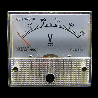 DC 500V Analog Panel Volt Voltage Meter Voltmeter Gauge 85C1 0-500V DC White