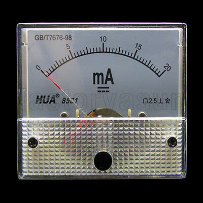 DC 20mA Analog Panel AMP Current Meter Ammeter Gauge 85C1 0-20mA DC White