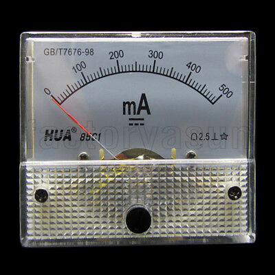 DC 500mA Analog Panel AMP Current Meter Ammeter Gauge 85C1 0-500mA DC White