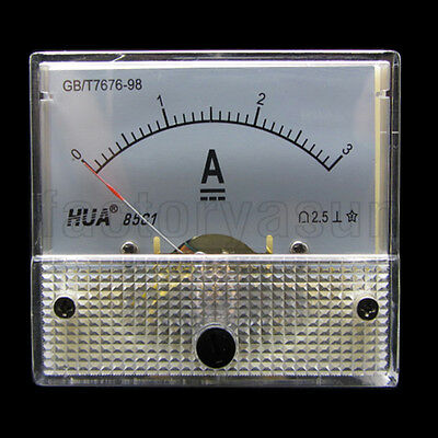 DC 3A Analog Panel AMP Current Meter Ammeter Gauge 85C1 0-3A DC White