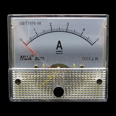 DC 5A Analog Panel AMP Current Meter Ammeter Gauge 85C1 0-5A DC White