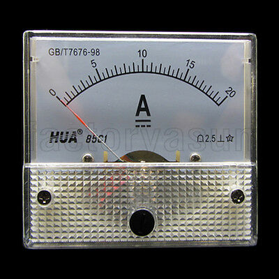 DC 20A Analog Panel AMP Current Meter Ammeter Gauge 85C1 0-20A DC White