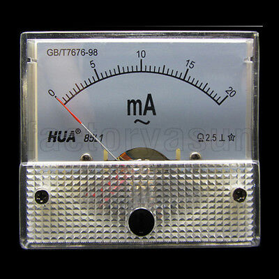 AC 20mA Analog Panel AMP Current Meter Ammeter Gauge 85L1 0-20mA AC White