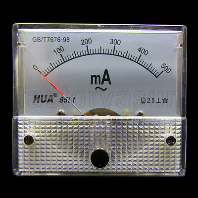 AC 500mA Analog Panel AMP Current Meter Ammeter Gauge 85L1 0-500mA AC White