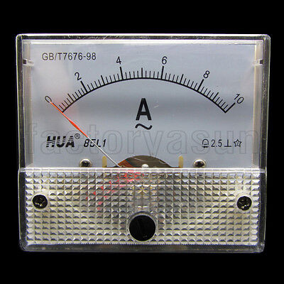AC 10A Analog Panel AMP Current Meter Ammeter Gauge 85L1 0-10A AC White