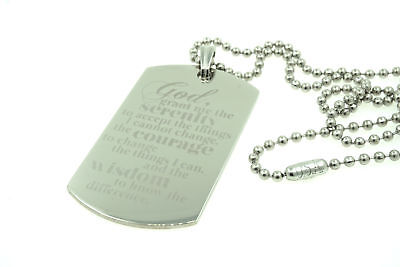 Serenity Prayer Jesus Christ Custom Engraved Dog Tag Pendant Necklace Christian
