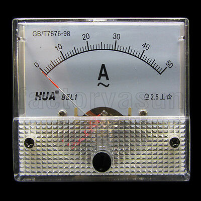 AC 50A Analog Panel AMP Current Meter Ammeter Gauge 85L1 0-50A AC White