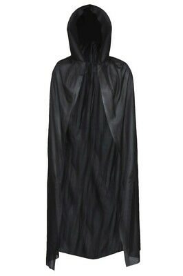 "Deluxe Black Hooded Cape Vampire 56"" Long Dracula Halloween Fancy Dress Costume"
