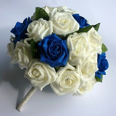 Royal Blue and Ivory Artificial Brides Bouquet - Wedding Flowers