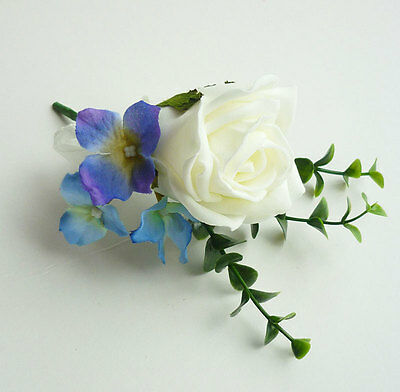 Ivory Artificial Rose and Hydrangea Buttonhole - Wedding Flowers
