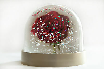 Mothers Day snow globe with 'With love on Mothers Day' red rose for mothers day