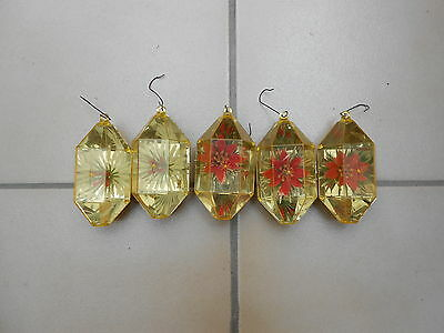Collectible Vintage Lot of 5 Plastic Christmas Ornaments-Faceted w/enc.Flowers