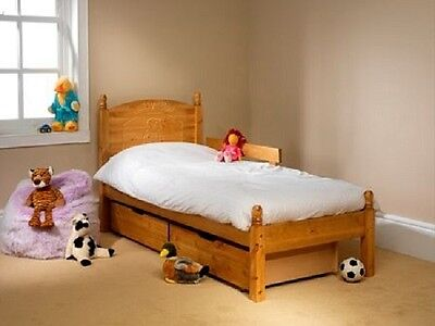 Teddy Wooden Bed Frame In Pine With Guard Rail 2Ft6 3Ft