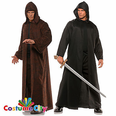Adults Full Length Hooded Cloak Medieval Halloween Fancy Dress Costume Accessory