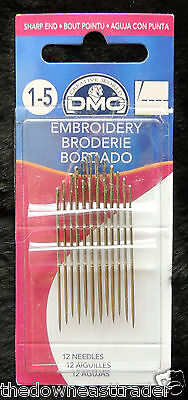 12pc DMC #1765/1 Embroidery Craft Needles Size 1-5 Nickel Plated Steel Sharp End