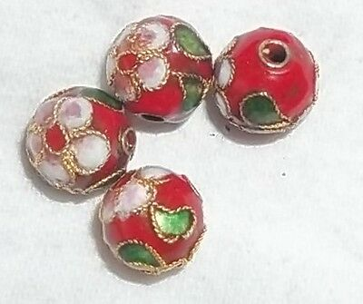 4 Perles Cloisonnees 9 Mm Rondes - Rouge - Neuf - Prc07