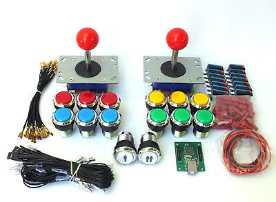 ARCADE JOYSTICK x 2 + 14 BUTTONS + USB INTERFACE + WIRING KIT FOR BARTOP MACHINE