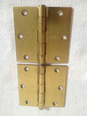 "Antique Vintage Stanley 3 1/2"" Brass Plated Butts Door Hinges New Old Stock USA"