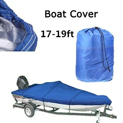 17-19ft Heavy Duty Speedboat Boat Cover Blue Waterproof Match Fish-Ski V-Hull