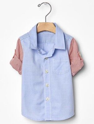 GAP Baby / Toddler Boy NWT Size 12-18 Months Blue / Red Button-Down Shirt