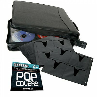 Faux Leather CD Case Holder Storage for 200 CDs DVDs PS XBOX + Free Twin CD Set