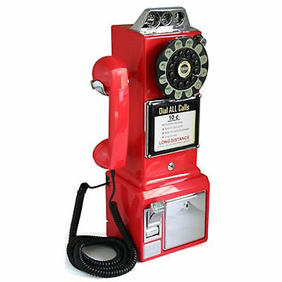 Crosley Retro Classic Vintage Style Pay Phone Telephone Wall Mount Coin Bank Red