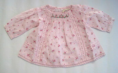 new baby girls pink vintage floral ex high st pink blouse top age 0-3 3-6 months
