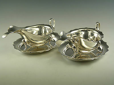 Sterling Silver - Pair SAUCE BOATS, Stands & Ladles - E VINER - 1911