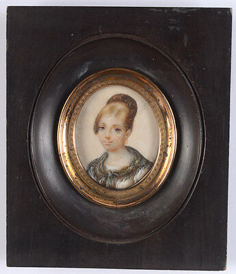 """""""Portrait of a young woman"""", French miniature, ca. 1820"""