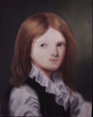 Antique painting pastel on paper of a young man with frame 19th century portrait