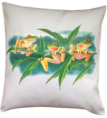 Frog Trio Themed Cotton Cushion Cover - Perfect Gift