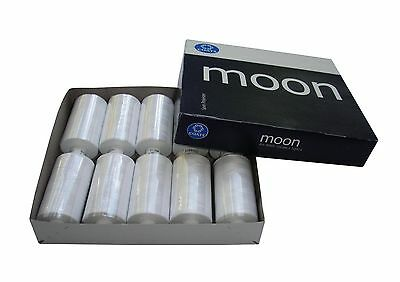 Moon Sewing Thread Colour White- Spun Polyester - 1000 Yards 1,2,5 Or 10 Spools