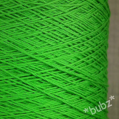 SOFT 4 PLY PURE COTTON GREEN 500g CONE 10 BALL CROCHET KNITTING  PEA BRIGHT LIME