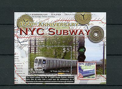 St Vincent & Grenadines 2004 MNH NYC Subway 100th Anniv 1v S/S A Trains Stamps