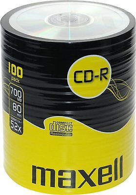 Maxell CD-R CDR Pack 52x Speed 700 MB 80 Min Blank Discs 100 CDs #4779-10pc