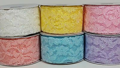 """2"""" Sparkling Lace Ribbon - 10 Yards"""