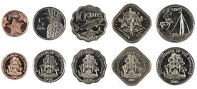 Bahamas 1 - 25 Cents X 5 Pieces (PCS) Coin Set, 2005-2015, KMS-2109, Mint