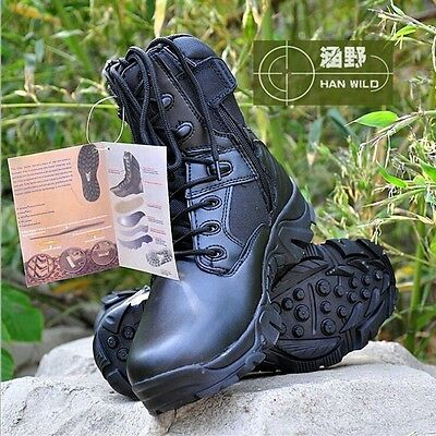 Mens Winter Black Leather Lace Up Military Ankle Hiking Combat Boots Shoes New