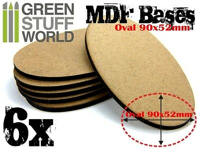 6x MDF Bases - AOS Oval 90x52mm - Thickness 3mm Basing Laser Cut Wargames