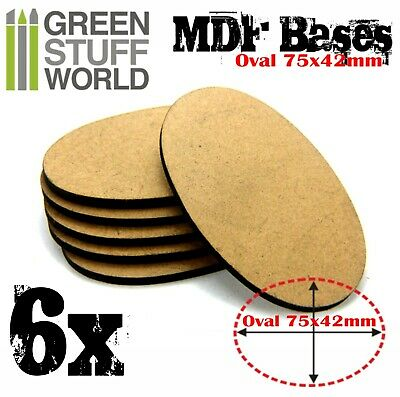 6x MDF Bases - AOS Oval 75x46mm - Thickness 3mm Basing Laser Cut Wargames