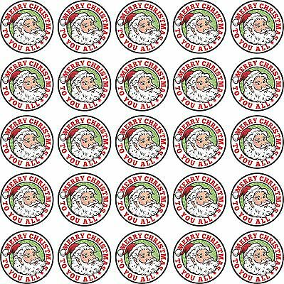 50 Round Colour Printed Vinyl Christmas Stickers, ideal for presents, cards, etc
